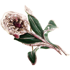 Vintage Brooch Large Calla Lily  Paste & Enamel 1930s - The Best Vintage Clothing  - 1