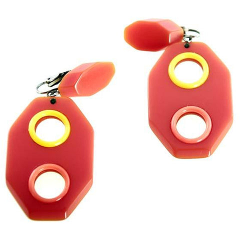 Vintage Mod Geometric Plastic Orange & Yellow Drop Earrings 1960s