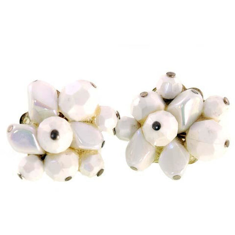 Vintage  Trifari  Earrings  White Faceted Aurora Borealis Clip Backs 1950s