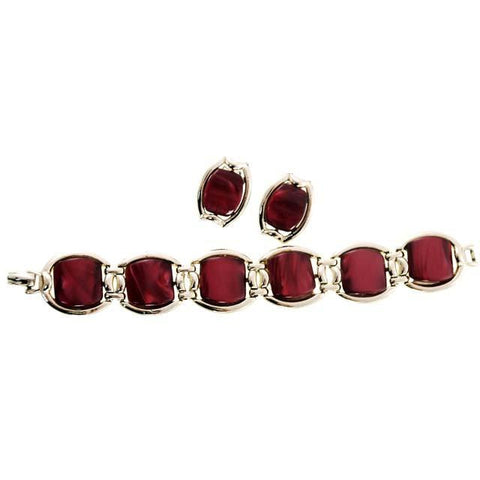 Vintage Red Pearl Lucite Bracelet & Matching Earrings 1950s