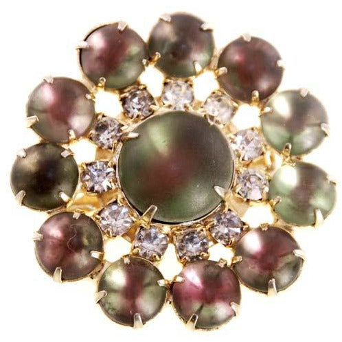 Vintage Green/Plum Cabochon Moonstone Brooch 1950s - The Best Vintage Clothing  - 1