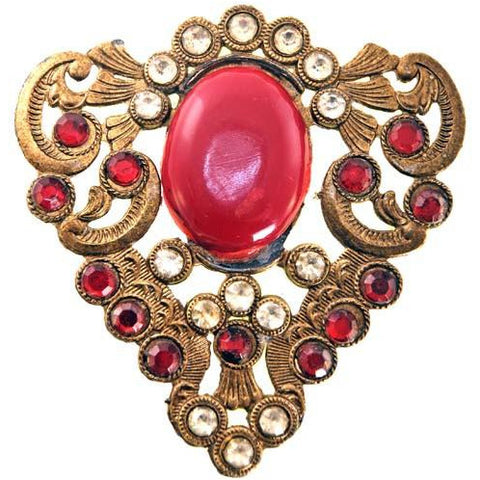 Vintage Brass & Red Brooch Large Early 1920s Downton Abbey Era