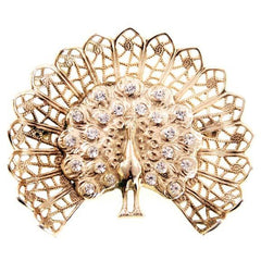 Vintage Gold Peacock Bird Brooch w/Rhinestones 1950s - The Best Vintage Clothing  - 1