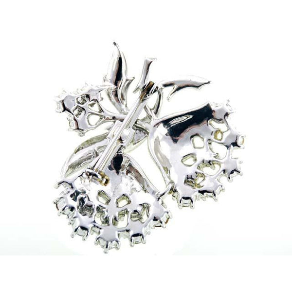 Vintage  SIlvertone & Rhinestone Brooch Double Flower 1960s - The Best Vintage Clothing  - 2