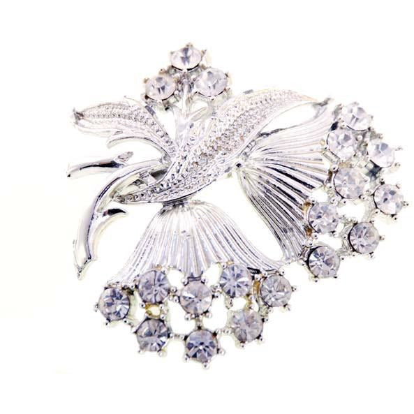 Vintage  SIlvertone & Rhinestone Brooch Double Flower 1960s - The Best Vintage Clothing  - 1