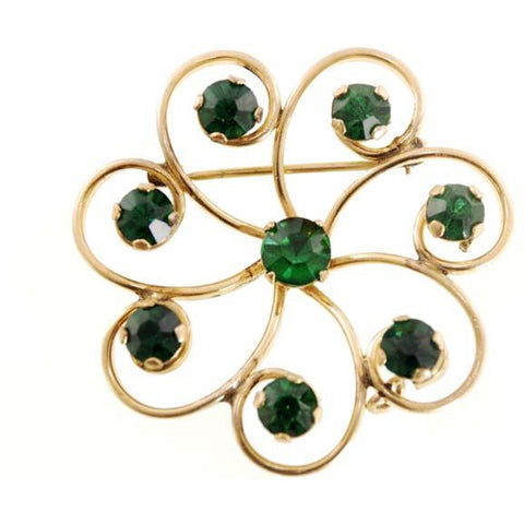 Vintage Gold Filled Brooch Emerald Green Stones R.Dean & Co 1950s