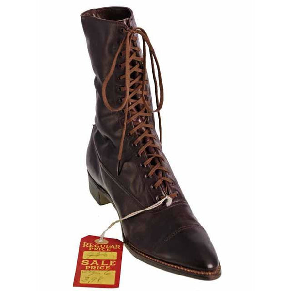 Antique Vintage Victorian Leather Boots Girls/Womens Dark Brown  1910 Sz 5  Buster Brown - The Best Vintage Clothing  - 4