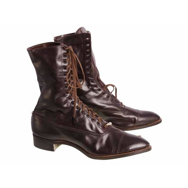 Antique Vintage Victorian Leather Boots Girls/Womens Dark Brown  1910 Sz 5  Buster Brown - The Best Vintage Clothing  - 5