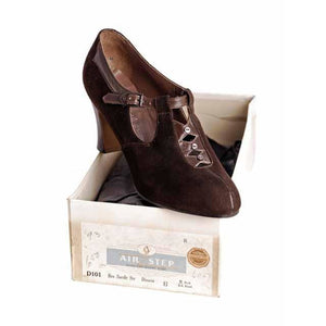 Vintage Brown Suede/Leather Mary Jane Shoes 1930s NIB 6 Air Step/Brown Bilt - The Best Vintage Clothing  - 1