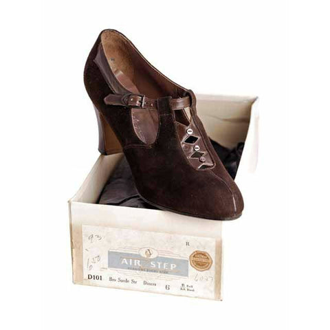 Vintage Brown Suede/Leather Mary Jane Buckle Shoes 1930s NIB 7 Early Air Step
