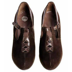 Vintage Brown Suede/Leather Mary Jane Buckle Shoes 1930s NIB 7 Early Air Step - The Best Vintage Clothing  - 2