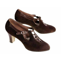 Vintage Brown Suede/Leather Mary Jane Buckle Shoes 1930s NIB 7 Early Air Step - The Best Vintage Clothing  - 3