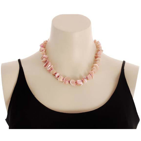 Vintage Signed Jewelry Les Bernard Necklace Natural Pink Shell Chunky Choker - The Best Vintage Clothing  - 1