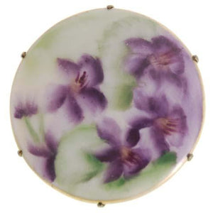 Vintage Victorian Pin Brooch Transfer Ware Violet Round - The Best Vintage Clothing  - 1