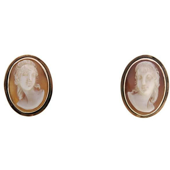 Rare Vintage Victorian Tortoise Shell Cameo Brooch & Earrings  14K - The Best Vintage Clothing  - 5