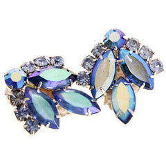 Vintage Signed Jewelry Sarah Coventry Brooch & Ears Blue Lagoon 1960's - The Best Vintage Clothing  - 7