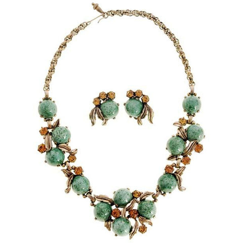 Vintage Signed  Schiaparelli  Gum Drop Jewelry  Parure Necklace & Ears 1950s Aqua & Gold