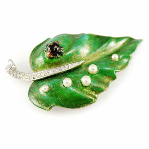 Rare Vintage Signed Trifari Turning Leaf Green Brooch 1950s w/ Ladybug
