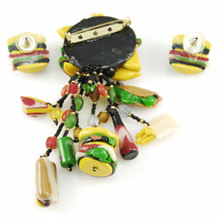 Vintage Fast Food Jewelry Hamburger & Hotdog & Coke Set 1980s - The Best Vintage Clothing  - 2
