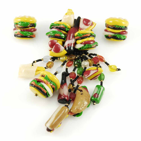 Vintage Fast Food Jewelry Hamburger & Hotdog & Coke Set 1980s