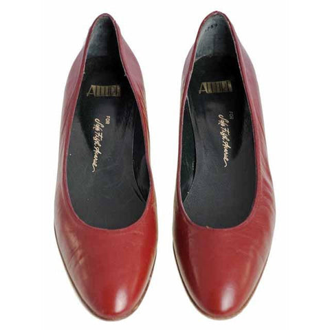 Vintage Red Leather Ballet Flat Shoe Gloria Vanderbilt  for Saks 9N