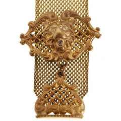 Antique Watch Chain Swivel Fob Mesh w Lion & Seal Victorian  Gold Plate - The Best Vintage Clothing  - 2