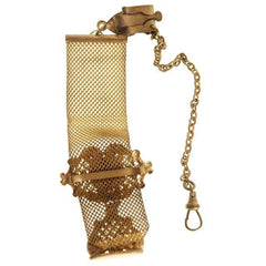 Antique Watch Chain Swivel Fob Mesh w Lion & Seal Victorian  Gold Plate - The Best Vintage Clothing  - 4