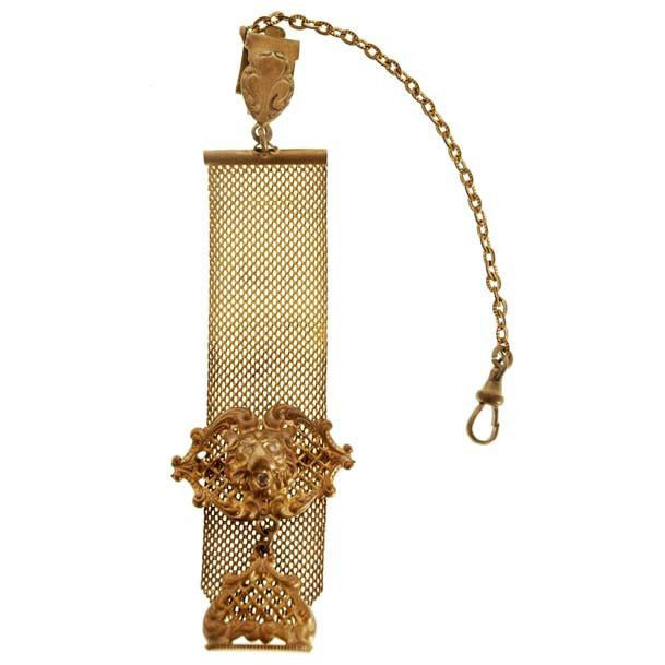 Antique Watch Chain Swivel Fob Mesh w Lion & Seal Victorian  Gold Plate - The Best Vintage Clothing  - 1