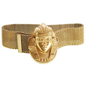 Vintage Miriam Haskell Egyptian Revival Pharoah Head Slide Bracelet Russian Gold - The Best Vintage Clothing  - 1