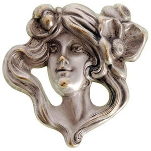 Antique Repoussé Brooch  Art Nouveau Ladies Figural Floral Silver Plated - The Best Vintage Clothing  - 1