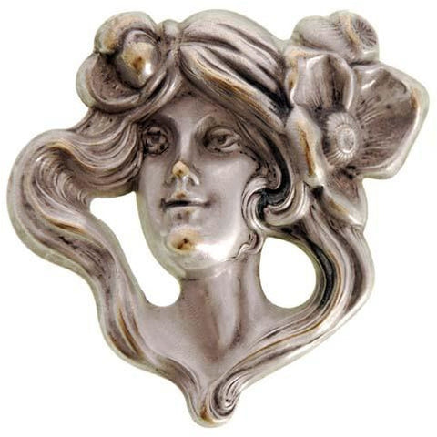 Antique Repoussé Brooch  Art Nouveau Ladies Figural Floral Silver Plated