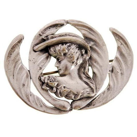 Beautiful Art Nouveau Repoussé Ladies Figural Floral Silver Plated