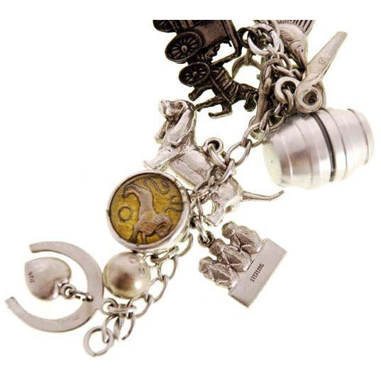 Vintage Charm Bracelet Bell Telephone Sterling Silver 23 Charms '64 Worlds Fair - The Best Vintage Clothing  - 3