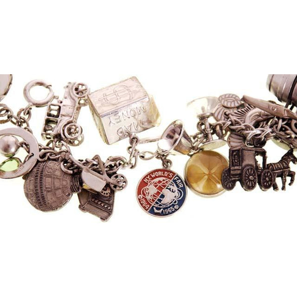 Vintage Charm Bracelet Bell Telephone Sterling Silver 23 Charms '64 Worlds Fair - The Best Vintage Clothing  - 4