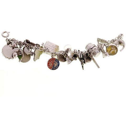 Vintage Charm Bracelet Bell Telephone Sterling Silver 23 Charms '64 Worlds Fair
