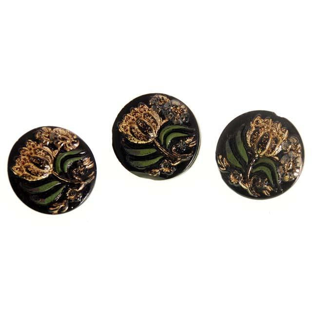 Antique Glass Buttons w/ Green and Gilt Gold Carved Flowers Shank - The Best Vintage Clothing  - 1