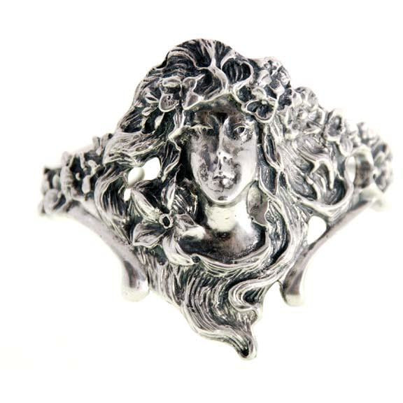 Antique Sterling Silver Art Nouveau Ladies Cuff  Bracelet Huge Female Figural - The Best Vintage Clothing  - 1