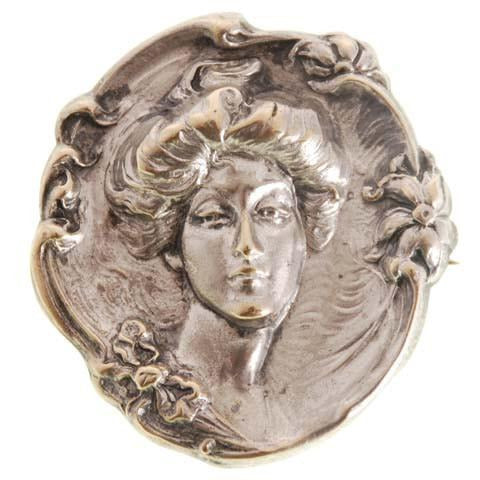 Antique Reposse Brooch Duchess of Devonshire Silver Plate - The Best Vintage Clothing  - 1