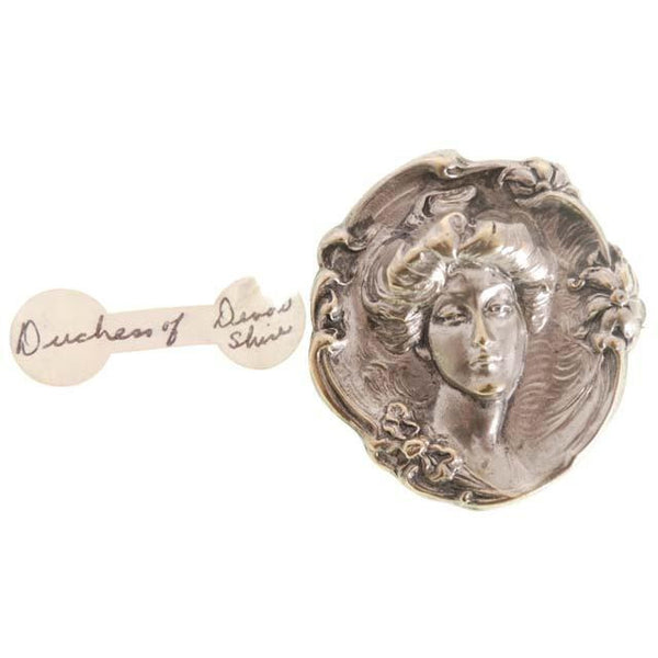 Antique Reposse Brooch Duchess of Devonshire Silver Plate - The Best Vintage Clothing  - 2