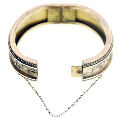 Antique Gold Bracelet Hinged Pretty Details Patented 1878 - The Best Vintage Clothing  - 2