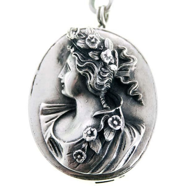 Antique Henryk Winograd .999 Silver Art Nouveau Double Reposse Necklace - The Best Vintage Clothing  - 3