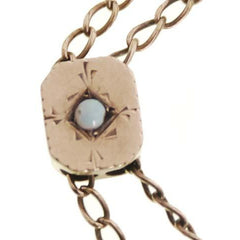 Antique Gold Filled  w/Turquoise Watch Chain Slide Victorian - The Best Vintage Clothing  - 2