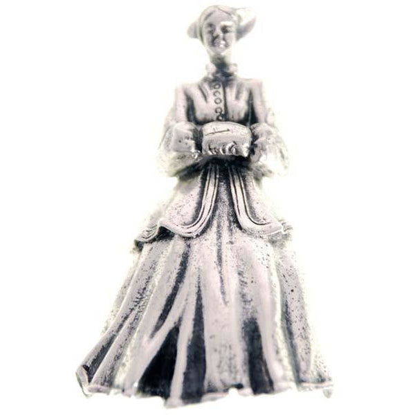 Vintage Danecraft Sterling Silver Brooch Victorian Lady w Muff - The Best Vintage Clothing  - 1