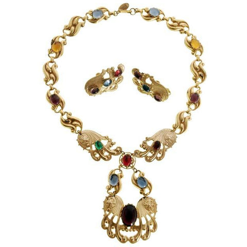 Vintage Miriam Haskell Necklace & Earring Set Color Cabochon 1970s