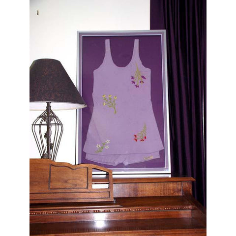 Vintage Swimsuit /Bathing Suit Lavender Zephyr Wool Embroidered 1920s Framed