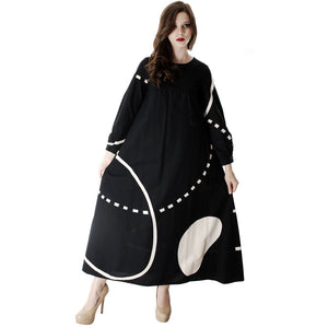 Vintage Marimekko Pentti Rinta Maxi Dress Bold Print 1976  Black & White Cotton Sz 34/6 - The Best Vintage Clothing  - 1