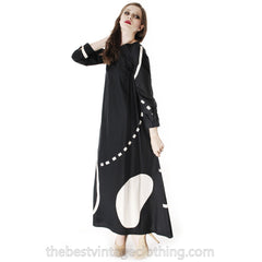 Vintage Marimekko Pentti Rinta Maxi Dress Bold Print 1976  Black & White Cotton Sz 34/6 - The Best Vintage Clothing  - 7