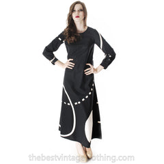 Vintage Marimekko Pentti Rinta Maxi Dress Bold Print 1976  Black & White Cotton Sz 34/6 - The Best Vintage Clothing  - 8