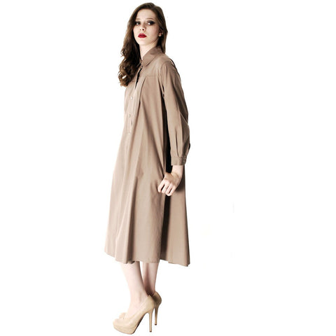 Vintage Vuokko Cotton Shirt Dress Tent Dress Taupe S Coat Dress Neutral