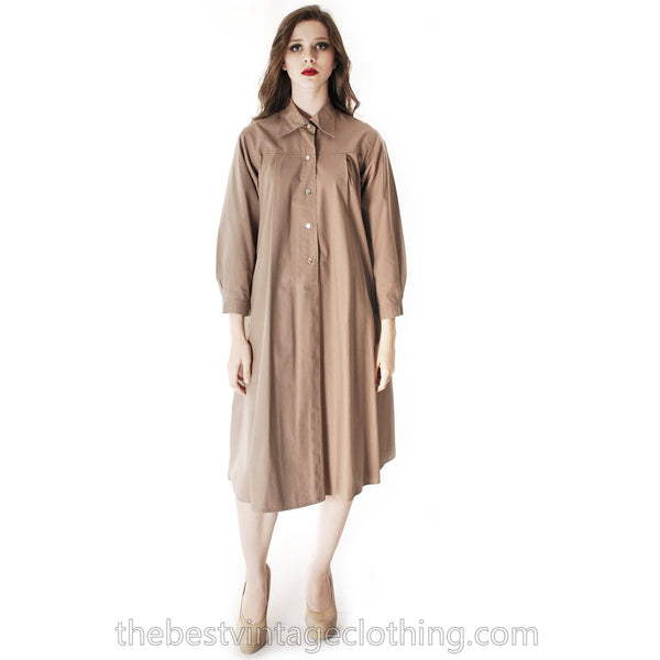 Vintage Vuokko Cotton Shirt Dress Tent Dress Taupe S Coat Dress Neutral - The Best Vintage Clothing  - 7